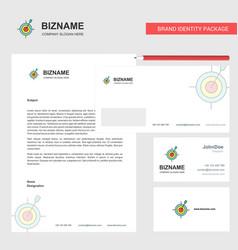 Dart game business letterhead envelope and vector