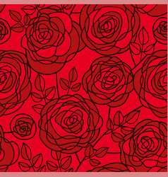 deep red passion rose flowers seamless pattern vector image