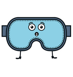 diving googles kawaii character vector image
