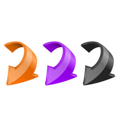 Down colored arrows shiny 3d bent web icons vector