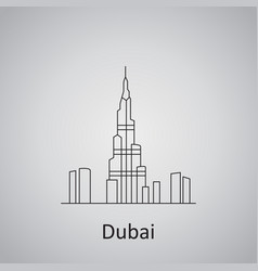 Dubai city icon burj khalifa and other towers view vector