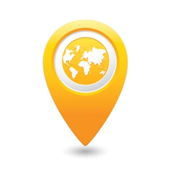 earth icon on map pointer yellow vector image vector image