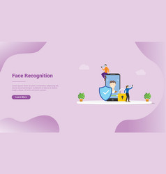 Face recognition technology concept for website vector