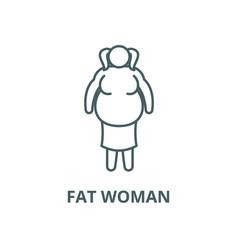 Fat woman line icon linear concept vector