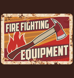 fire fighting equipment rusty metal plate vector image