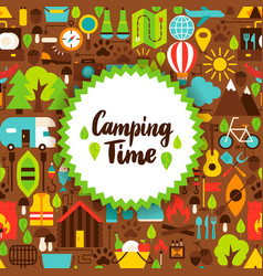 Flat camping time postcard vector