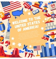 Flat design usa travel flyer with icons famous vector