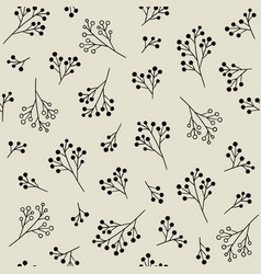 floral monochrome seamless pattern with berries vector image