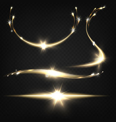 flying sparkles light traces realistic set vector image