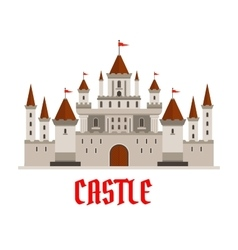 Fortified castle icon with flags and watchtowers vector image