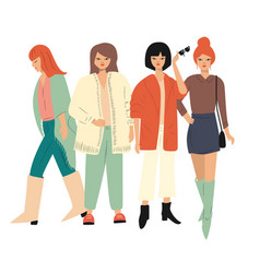 Four young women in autumn clothes standing vector