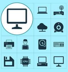 Gadget icons set collection of keypad desktop vector