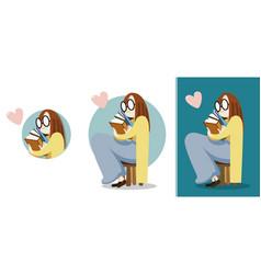 girl love reading vector image