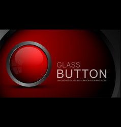glass red button vector image