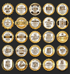 Golden retro sale badges and labels collection 6 vector