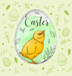 green easter card with chicken vector image
