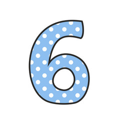 Hand drawn number 6 with polka dots on pastel blue vector