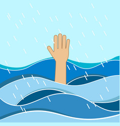 Hand of drowning man needing help vector