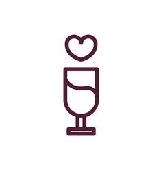 happy valentines day champagne drink heart love vector image