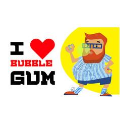 hipster love bubble gum concept banner cartoon vector image
