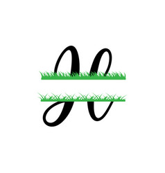 initial h grass monogram split letter isolated vector image