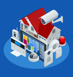 Isometric alarm system home home security vector