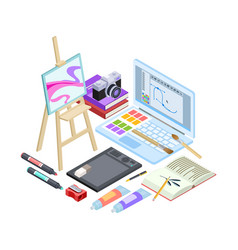 isometric stationery and drawing tools isolated vector image