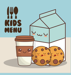 Kids menu milk cookies vector