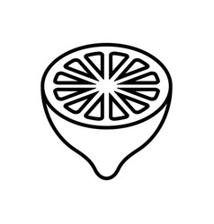 Lemon half fruit cross-section - line icon vector