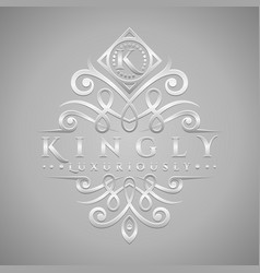 letter k logo - classic luxurious silver vector image