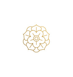 Logo golden flower hand drawn with thin vector