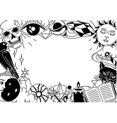 magic frame with mystery items mystic alchemy vector image