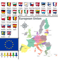 Maps of european union vector