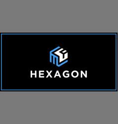 Mf hexagon logo design inspiration vector