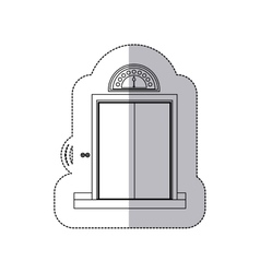 Middle shadow monochrome sticker with elevator vector