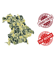 military camouflage collage of map of germany and vector image