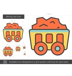 Mining cart line icon vector