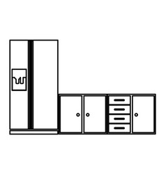 Monochrome contour of lower kitchen cabinets with vector