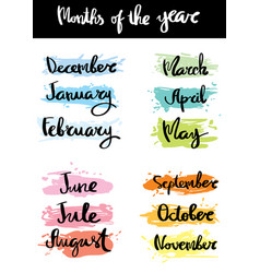 Month of the year calligraphy vector