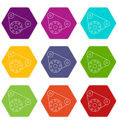 motor icons set 9 vector image