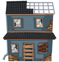 Old house with broken roof and windows vector