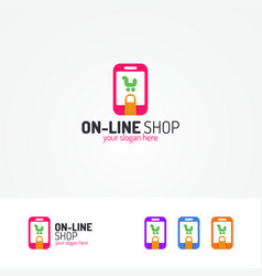 on line shopping logo consisting of cart in phone vector image