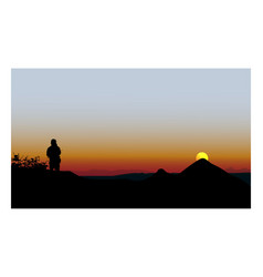 Panorama mountains with silhouette man vector