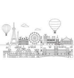 Paris skyline line art 7 vector