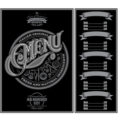 Pattern for menu pizza over black background vector