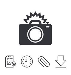 Photo camera sign icon photo flash symbol vector