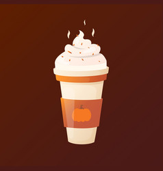 Pumpkin latte with cream in a cup vector