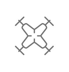 Quadcopter drone line icon vector