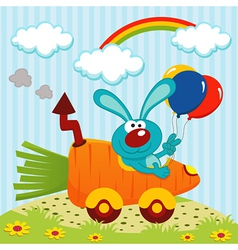 Rabbit by car from carrots vector