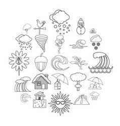 rainy weather icons set outline style vector image